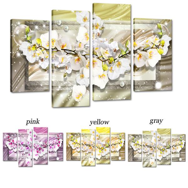 Linea sfondo generoso elegante fiore di magnolia moderna opera d'arte decorativa pittura murale senza cornice 4 pezzi di arte della parete della tela per la decorazione domestica