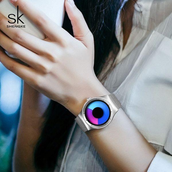 Shengke Luxury Watches Women Fashion Stainless Steel Wrist Watch Ladies Clock Reloj Mujer 2019 Sk Creative Women Quartz Watch Y19051503