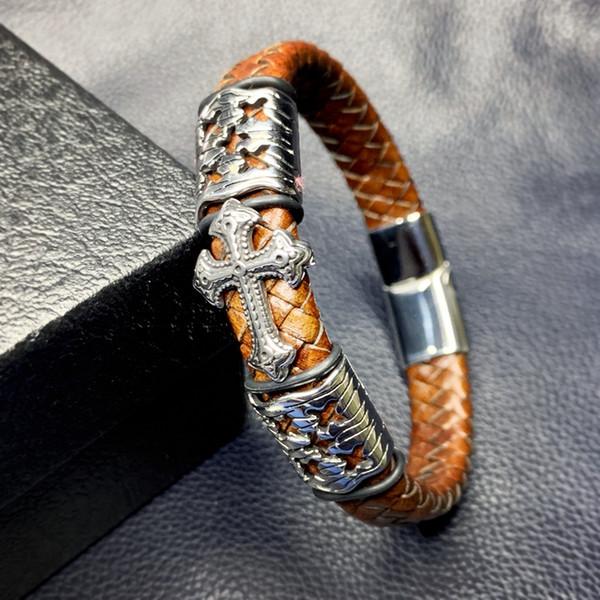 Vintage Braided Leather Men Bracelets Stainless Steel Cross Charms Cuff Bracelets Trendy Men Wrist Band Gifts Male Jewelry L0081