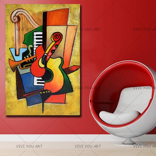 Pura mano famosa alta calidad de dibujos animados pintura al óleo instrumento musical colgar imagen para la decoración casera Niza Gifrs sin marco