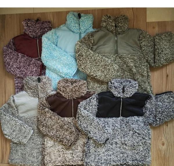 6 renk çocuklar Sherpa Kazak Hoodies Bebek Fermuar leece Tişörtü Sonbahar Kış Dış Giyim Ceket Patchwork Peluş Kapşonlu Kazak KKA6333 tops
