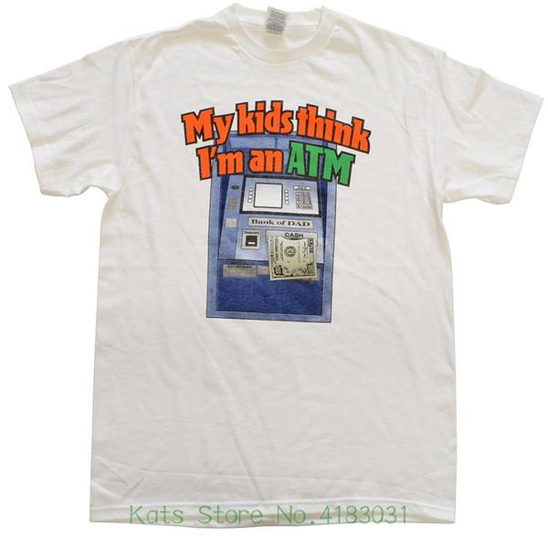 T-shirt pour hommes Mes enfants pensent que je suis un ATM T-shirt en coton à manches courtes avec col en coton unique