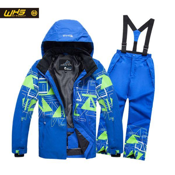 WHS NEW Boys ski suit kid snow jacket & pant waterproof coats pants teenage windproof clothing warm trousers