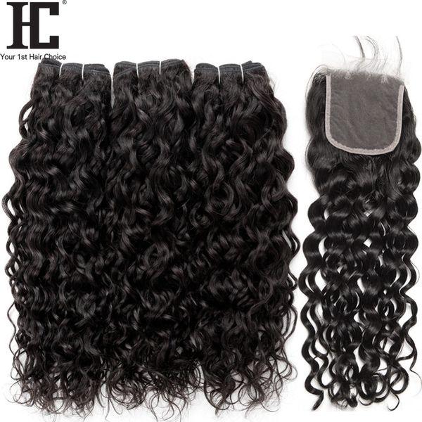 Brasilianisches reines Haar-Wasser-Wellen-Bündel mit Verschluss 4 PC / Los Brasilianische Haar-Webart-nasses und wellenförmiges Menschenhaar 3 Bündel mit Spitze-Schließung