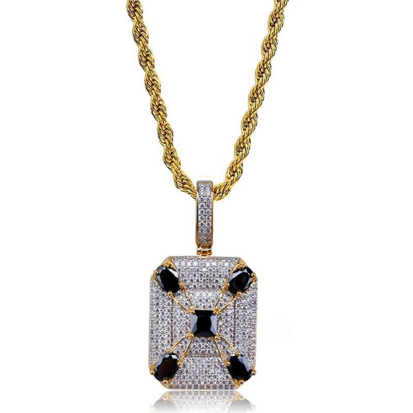 Cool Ice Out Collane con ciondolo Uomini Nuova moda Gem Tag Collana Luxury Bling Cubic Zirconia Gioielli Hiphop