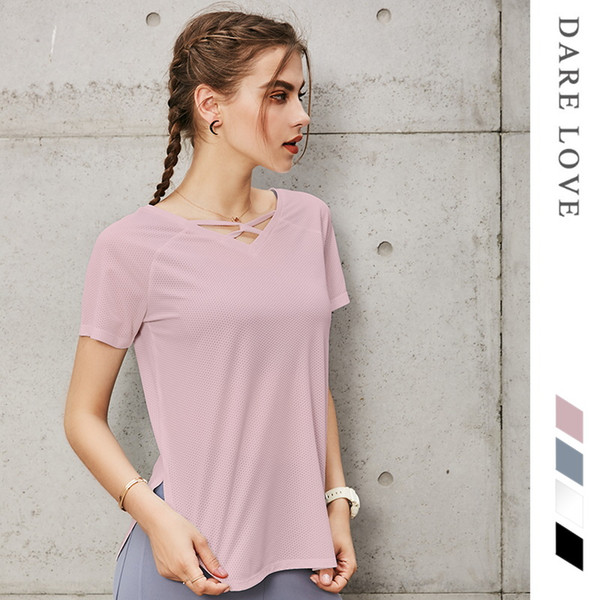Women Sport Top Shirts Gym Loose Yoga Top Brethable Fitness clothes Gym Quick Dry Workout Running Shirts Women SportsWear
