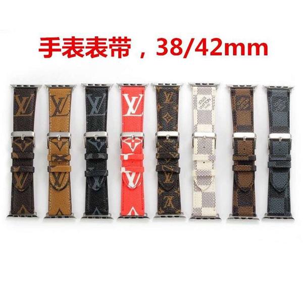 Monogramm Druck Leder Uhrenarmbänder für Apple Watch Band Iwatch 38 mm 42 mm 40 mm 44 mm Sport Armband Ersatz Designer Uhrenarmband