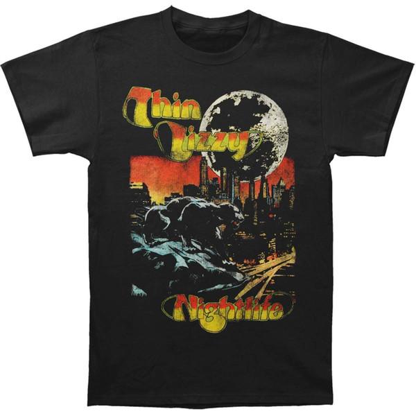 Thin Lizzy Männer Nachtleben Mens Regular beiläufige Musik-T-Shirt Schwarz