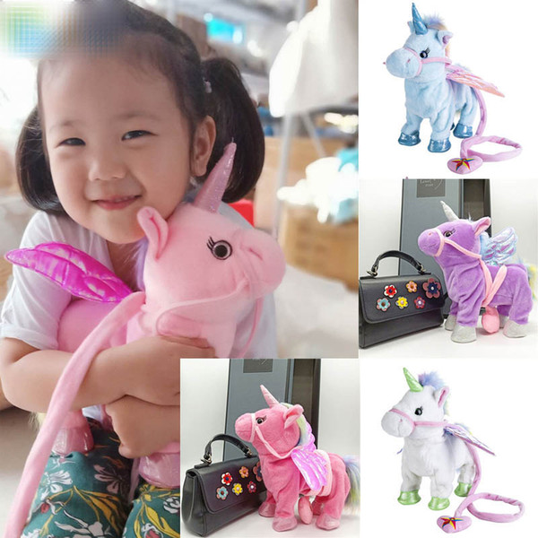 2019 New hot selling Leash unicorn plush doll can call walk twist the butt Stuffed Animals electric plush toys children's Christmas gifts C3