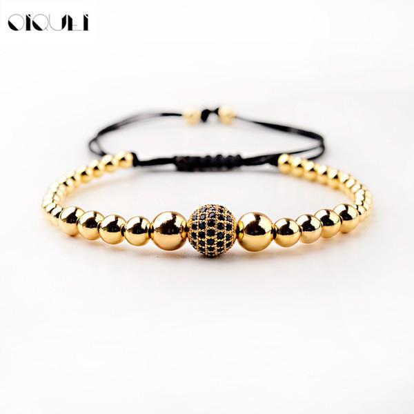 OIQUEI Gold Copper  Braided Macrame Bracelets Men Cubic Micro Pave CZ Balls Rope Chain Charm Bracelet Adjustable Jewelry