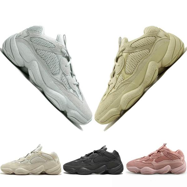 2019 Yeni 500 Kanye West BLUSH UTILITY SIYAH TUZ SÜPER Ay Sarı Tasarımcı Erkek Ayakkabı Spor moda lüks erkek kadın tasarımcı sandalet ayakkabı
