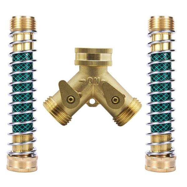 Горячая продажа сверхмощный 2 Способ садовый шланг разъем с 2шт садовый шланг спиральный пружинный протектор