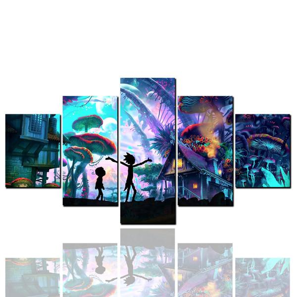 Forêt magique, Encadré 5 Panneau Mur Art Pure Peinture À L'huile Décor À La Maison Moderne Décoration Murale Paysage Art Peinture À L'huile Sur Toile