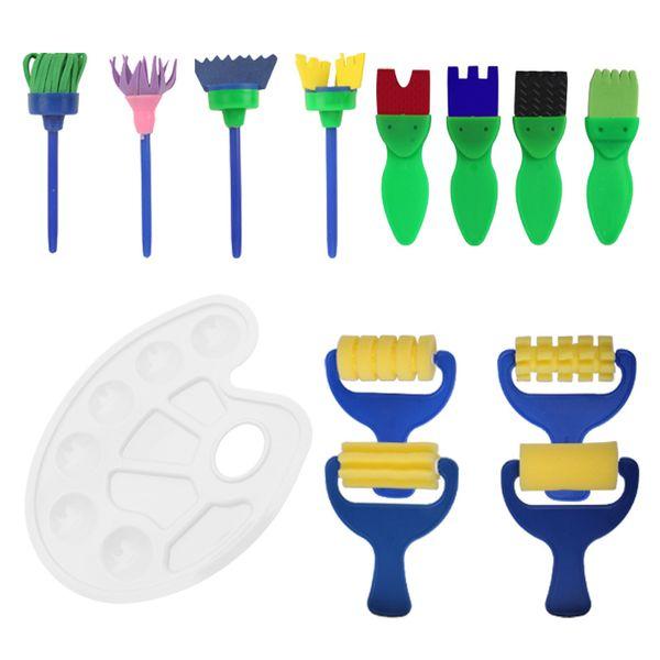 17pcs enfants outils de peinture ensemble éponge brosses palette peinture à l'huile brosse art fournitures 15 5bm p