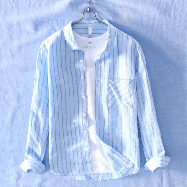 Suehaiwe's brand Italy striped shirt men long sleeve casual blue shirts mens spring fashion shirts for men stripes tops overhemd