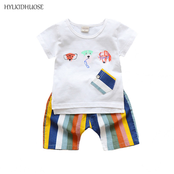 HYLKIDHUOSE Summer Baby Boys Clothing Sets Infant Cotton Suits Cartoon Dog T Shirt Rainbow Color Shorts Children Kids Suits