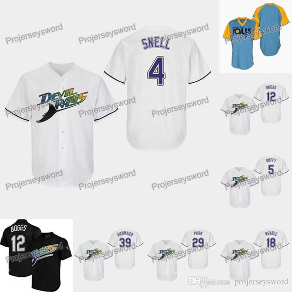 Tampa Bay Blake Snell Rays Jersey Matt Duffy Wade Boggs Joey Wendle Avisail Garcia Tommy Pham Kevin Kiermaier Maglia da baseball Charlie Morton