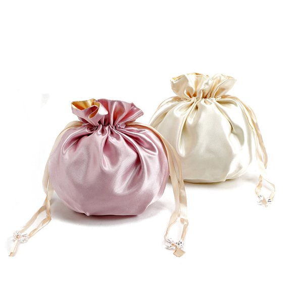 New Elegant Silk Pink Drawstring Makeup Bags.Portable Toiletry Cosmetic Bag.Beauty Case.Day Clutch.Purse.Jewelry Storage Bags