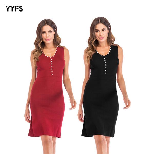 Женская одежда 2019 платье V Воротник рукавов Pure Color Nail бисера пакет хип вязание жилет юбка