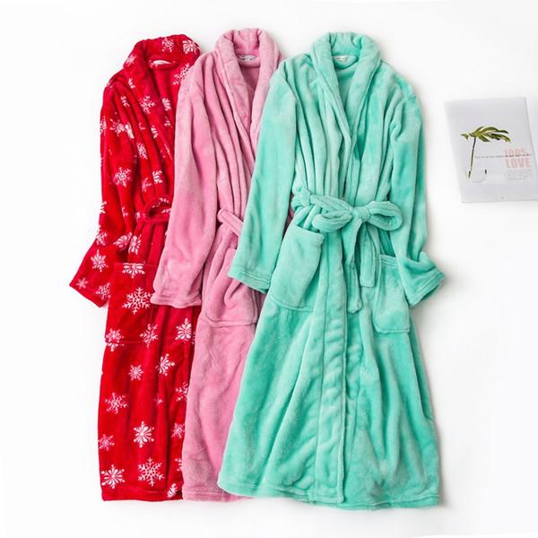 Flannel BathRobes Women Men Winter robe night-gown warm luxury autumn Coral Fleece nightdress