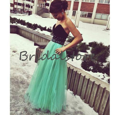 Senior Black And Mint Green Prom Dresses Sweetheart Beaded Full Length Tulle Formal Evening Dresses Lace Up Holiday Cheap Graduation Gowns