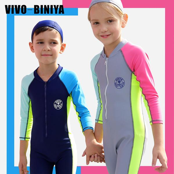 Enfants Full Body Stinger maillot de bain soleil protection UV maillot de bain UPF50 + maillot de bain avant Zip manches longues une pièce maillot de bain garçon fille