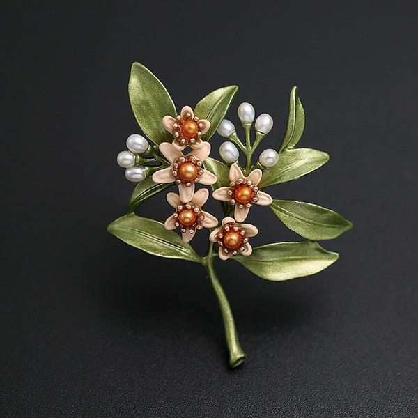 Venta al por mayor de lujo verde esmalte Pins y broches perlas flor de la hoja broche para mujeres hombres traje accesorios broche de joyería Dropshipping