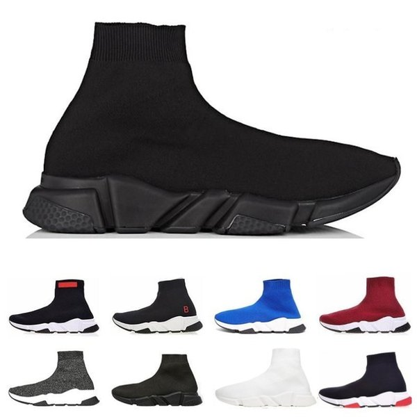 Cheap Designer Speed Trainer fashion men women Socks Boots black white blue red glitter Flat mens Trainers Sneakers Runner Casual Shoes