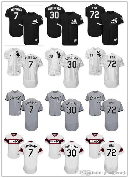 personnalisé Hommes Femmes Jeunes Majestic White Sox Jersey # 30 David Robertson 72 Carlton Fisk 7 Jeff Keppinger Noir Blanc Enfants Maillots De Baseball