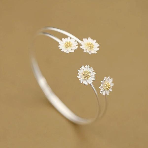 Браслет из стерлингового серебра 925 девушка сердце супер высокий темперамент двойной маргаритки браслет корейской моды серебряные украшения