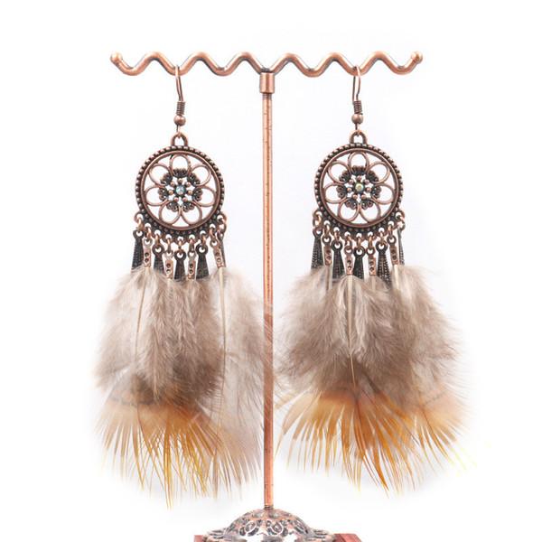 Vendita calda gioielli indiani Boho Orecchini pendenti Orecchini pendenti etnici piuma lunga colorata per le donne