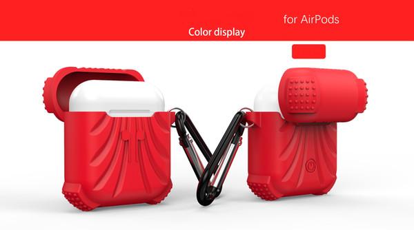 Cubierta protectora de silicona suave antirretratos con hebilla de metal para auriculares inalámbricos Apple AirPods