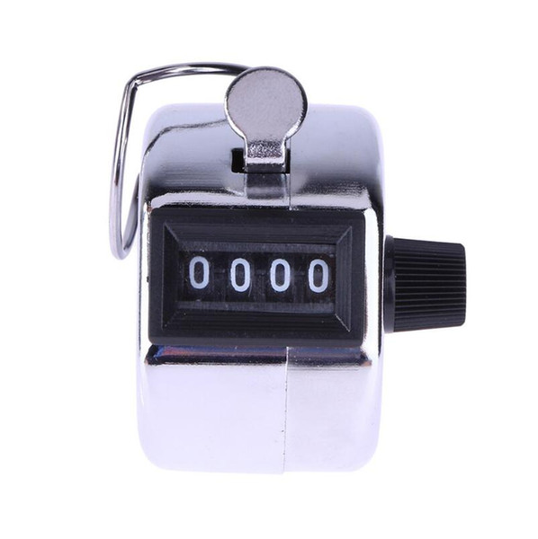 best selling Digits Stainless Counters Professional 4 Digit Hand Held Tally Counter Manual Palm Clicker Number Counting Golf LX4203