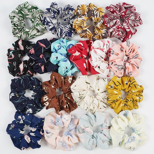 best selling Women Elastic Hair Bands Floral Flamingo Print Sports Dance Scrunchie Soft Hairband Elastic Head Rope Ponytail Holder Scrunchies Tie HHA332