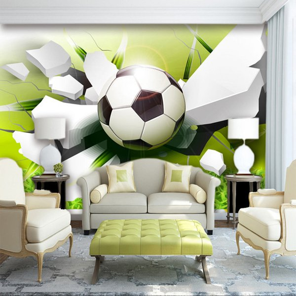 Custom Wall Mural Wallpaper Modern 3D Stereoscopic Football Broken Wall Living Room Sofa Background 3D Photo Wallpaper Non-woven