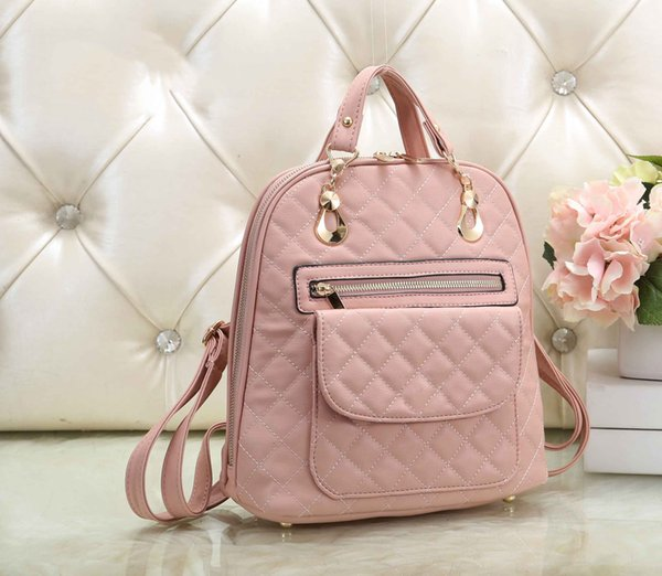 Designer Backpack Diamond Lattice Pattern Vogue Chic Fashion Classic Style Women Girl Lady Love Pink High End Bags Leather Shoulder bags
