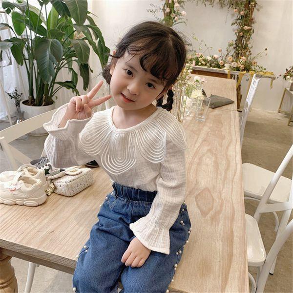 2019 otoño bebé niñas camiseta niños pétalo cuello manga acampanada blanco tops algodón camisetas 15161