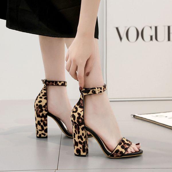 Goddess2019 Sandali leopardati a stampa grossa con fibbia alta e scarpe da donna con bocca di pesce