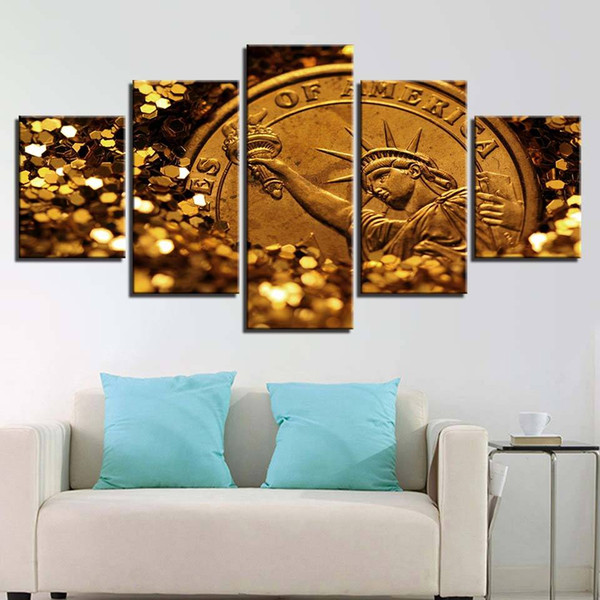 Modular Canvas Wall Art Pictures 5 Pieces Glittering Gold Painting Living Room Decor HD Print Statue Of Liberty Poster(No Frame)