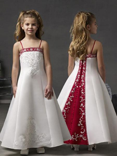New Flower Girl Dresses Spaghetti Straps Ball Party Pageant Dress for Wedding Little Girls Kids/Children Communion Dress