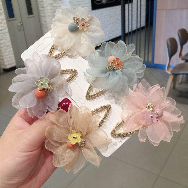 Fashion flower girls hair clips Boutique princess kids barrettes designer hair accessories for women BB clips crystal hair clips A6692