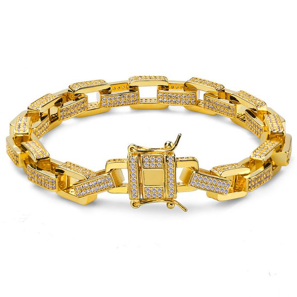 Bling Ice Out CZ Bracelet Gold Plated For Men Luxury Rapper Hiphop Link Chain 12mm Brand Jewelry Hip 2019 Hop Bangle Bracelets