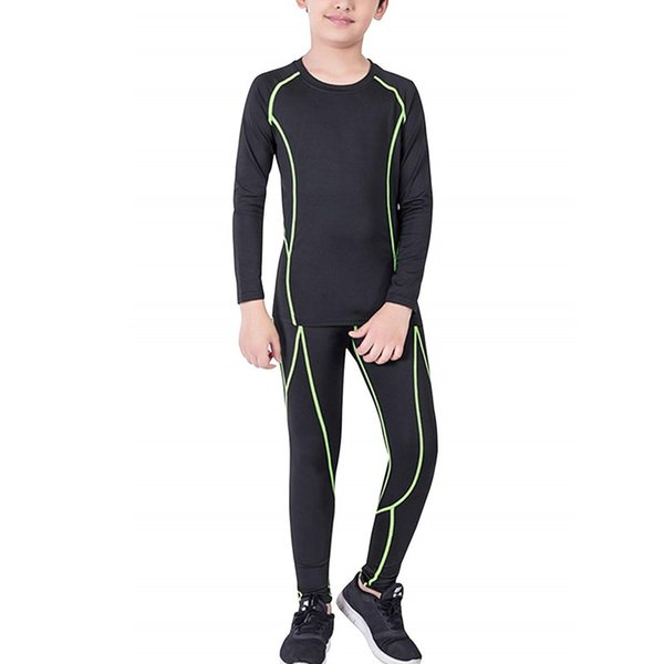 2019 kid's casual compression set long sleeve shirts and pants sports base layer suits underwear set long john thumbnail