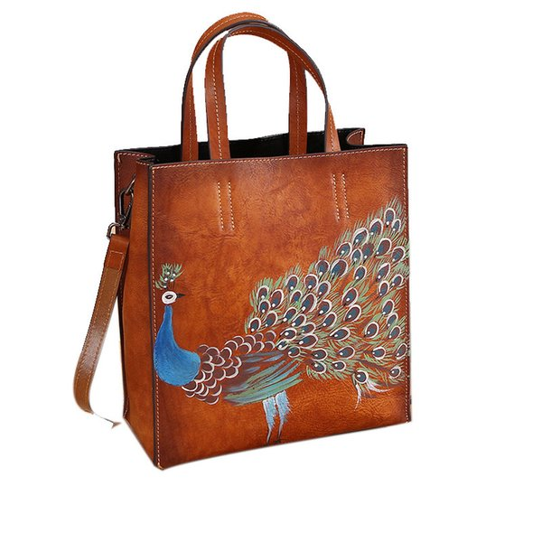 Fashion luxury 2019 new high quality vintage leather women's handbags hand-painted animal tote bag female [hot items]