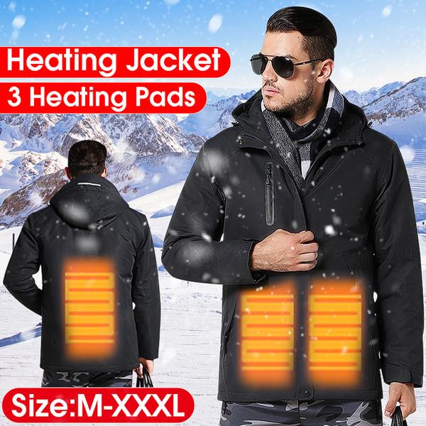 Winter Men USB Infrared Heating Ves Outdoor Waterproof Smart Electric Heating Jacket Thermostat Hooded Jacket 3 colors