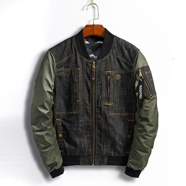 Wholetide Agradável Outono Novo Estilo de Beisebol Coleira de Lazer Montagem Denim Jacket Mens Moda Bolso Decoração Chaqueta
