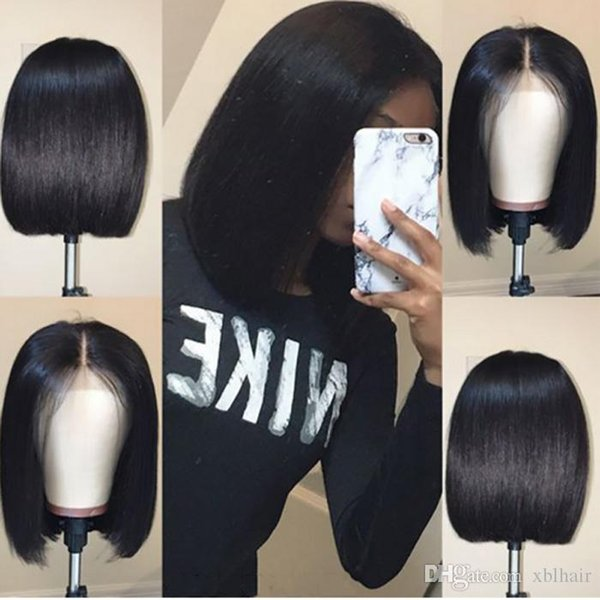 Bob Lace Front Human Hair Wigs With Baby Hair Pre Plucked Peruvian Remy Hair Full End Straight Short Bob Wig For Black Women