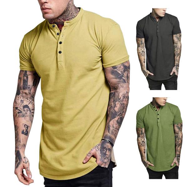 Mens Katı Yaz tişörtleri Kısa Kollu Düğme Mürettebat Boyun Moda İnce Erkek Giyim Tops
