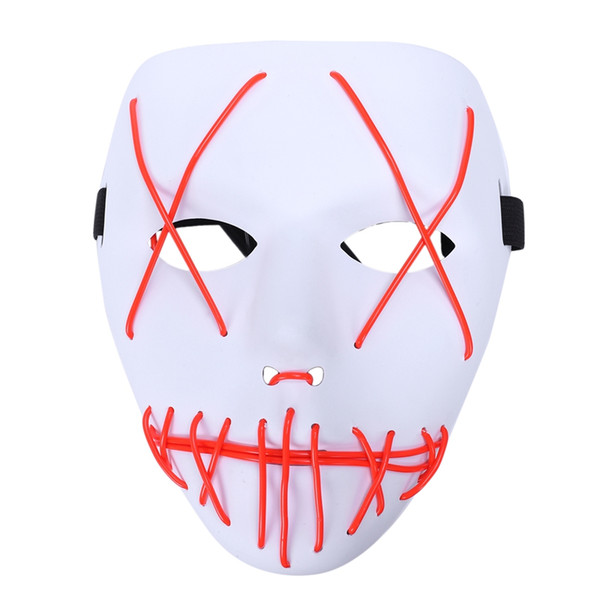 ouverture promotion-3 modes Halloween masque effrayant cosplay Led Light Up Costume Masque Purge Film
