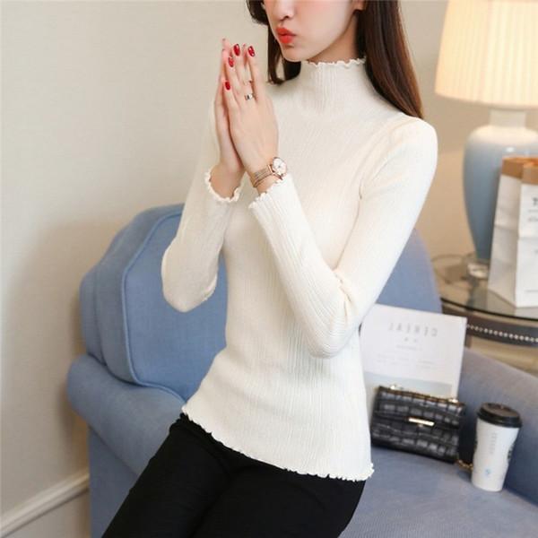 Pulls à col roulé à manches longues femmes solides base pulls Slim Fit tricots 2018 femmes pull hiver tricoté # 409246